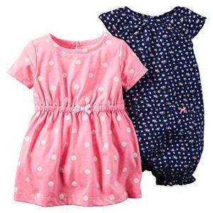 Carter's pink & white polka dress Size 6 months